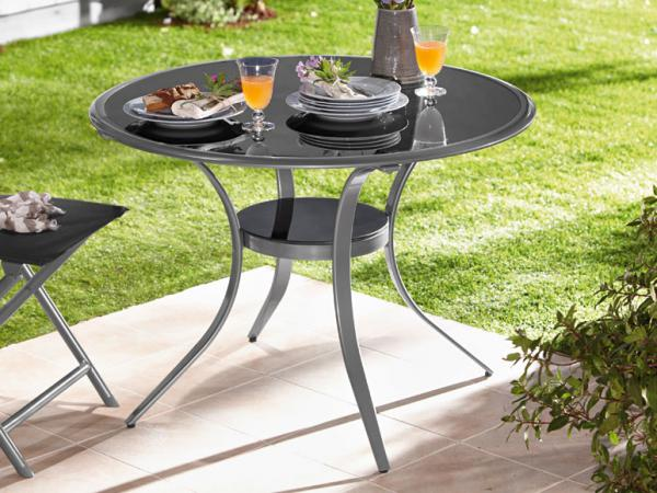 alu gartentisch mit sicherheits glasplatte in schwarz rund 100cm niveauausgleich ebay. Black Bedroom Furniture Sets. Home Design Ideas