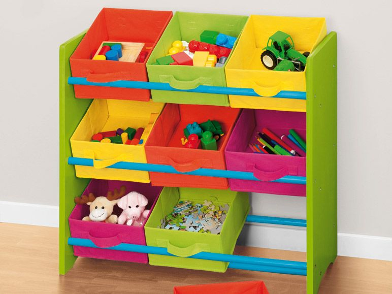 kinderregal mit 9 bunten boxen spielzeugkiste spielzeugbox. Black Bedroom Furniture Sets. Home Design Ideas